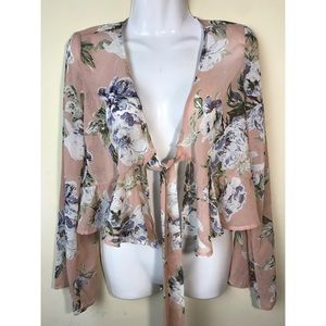 Peach Love Sheer Floral Bell Sleeve Top